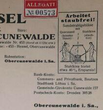 ALTE RECHNUNG OBERCUNEWALDE SACHSEN STAHLSANDFABRIK GEBR. HENSEL CA 1936
