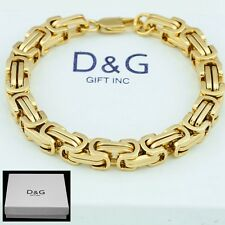 "Dg Men's 8.5"" Gold Stainless Steel 6mm Byzantine Chain Bracelet,Unisex + Box"