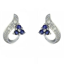Ivy Gems 9ct White Gold Blue Sapphire & Diamond Swirl Stud Earrings