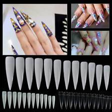 60pcs Long Sharp False Nail Art Tips Acrylic Salon Tools - White Clear Natural
