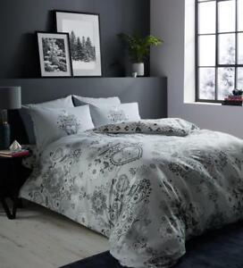100% Cotton Flannelette(Nordic Folk )Quilt Duvet Cover Bed Set With Pillow Case