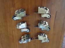 6 anciennes roulettes , sabots griffes  , en laiton pour pieds de meuble ,