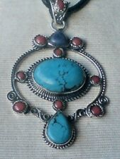 HANDCRAFTED STERLING SILVER 70mm PENDANT withTURQUOISE & CORAL STONES £59.95 NWT