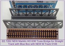 EE 7262 New Marklin HO Straight Truss Bridge with New 5106 M Track w Blue OBX