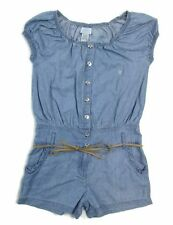NEW Guess Jeans Young Girls' Cap Sleeve Belted Cotton Romper Chambray 8