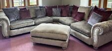 *NEW*  3+3 SEATER CORNER - DFS Crushed Velvet Sofas MAIE Pillow Back Silver Grey