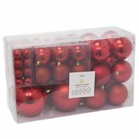 94 Pcs Red Christmas Tree Bauble Box Set, Hanging Christmas Ball Tree Decoration