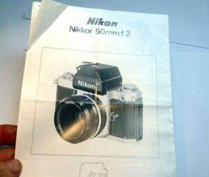 Nikon Nikkor 50mm f2 Lens  Brochure Guide specifications