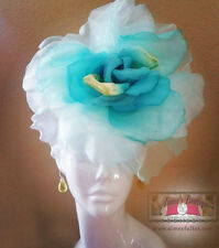 ROYAL ASCOT RACES Fascinator Hat Blue Aqua Turquoise Flower Silk Kentucky Derby