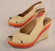 SO Womens Espadrille Wedge Sandals Size 9M Beige Pink Peep Toe Slingback