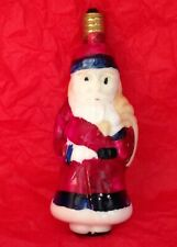 Vtg Christmas Santa Figural Bulb Blue Trim Coat Milk Glass Japan Non Working C-7