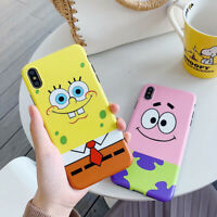 For iPhone X XS Max XR 6 7 8 Plus Cute SpongeBob Frosted TPU Phone Case Cover