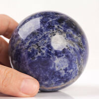 478g 70mm Large Natural Blue Sodalite Quartz Crystal Sphere Healing Ball Chakra