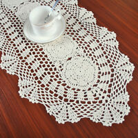 Beige Crochet Doily Vintage Cotton Table Runner Wedding Party Cover 12x27inches