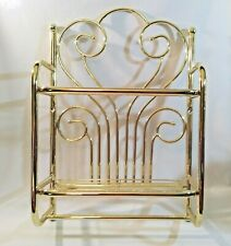 Gold Tone Metal Bathroom 2 Tier Wall Mount Shelf w Towel Bar