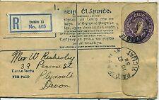 Irlande Ireland Eire 1938 Dublin entier postal stationery Registered Size F harp
