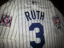 NEW YORK YANKEES  3 BABE RUTH THROWBACK 2PATCHES SEWN JERSEY WHITE M 27d091178