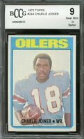 1972 topps #244 CHARLIE JOINER houston oilers rookie card BGS BCCG 9