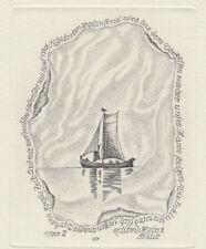Heinrich PREUSS Segelboot Exlibris Bauer Sail Boat Copper Engraving C2 signed