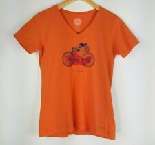 Life is Good Women's Go Places Bike Crusher Vee on Coral Orange Large Small S