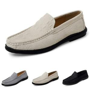 Men's Faux Leather Driving Moccasins Slip on Pumps Loafers  Crocodile pattern D