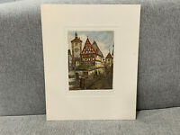 Vintage German Rothenburg Aquatint Etching Print Signed by the Artist