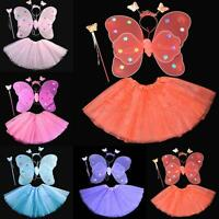 Chic Halloween Kids Girls Angel Fairy Butterfly Wings Fancy Dress Party Outfits