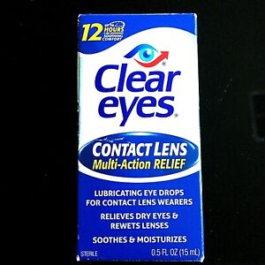 Clear Eyes Contact Lens Eye Drops* 0.5 oz Lubricating 12 hr Multi-Action Relief