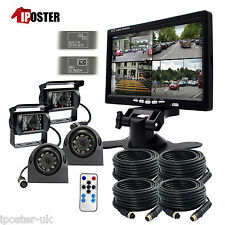 "24V 12V 4 CCD Reversing Side View Camera 4-PIN 7"" Split QUAD Monitor Caravan Kit"