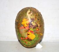 Vintage Old Antique Wooden Carved Painted Decorative Egg Shape Item Collectible
