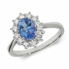 Or Blanc Diamant Bague Serti Ovale en Tanzanite