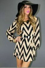 Women Casual Striped Long Sleeve Tops Mini dress