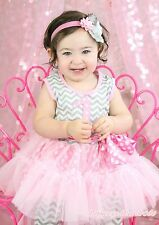Birthday 1ST 2ND Pink Dot Chevron Girl Top Dance Ruffle Tutu Dress Pants 1-8Year