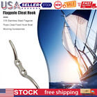 Stainless Steel Flagpole Rope Cleat Fixed Hook Boat Accessories 4 Inch