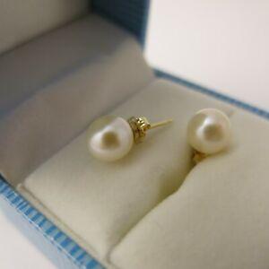 Ohrstecker 14Kt. / 585er Gold, Gelbgold / Weißgold Echte Perlen Weiß 7,2mm Rund