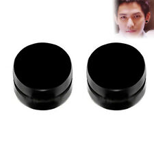 Magnetic Ear Stud Non Piercing Clip Round Mens Womens FAD Fake Earrings 1 Pair``