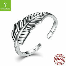 Retro 925 Sterling Silver Original Feather Bow Open Sizable Ring For Women & Men