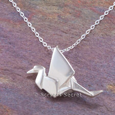 """925 sterling silver ORIGAMI paper Bird Crane Swan 3D Charm Pendant 18"""" Necklace"""