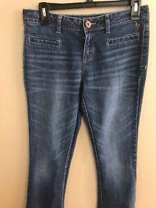 I love Justice Juniors Girls Size 16R Blue Denim Stretch Mid rise Bootcut Jeans