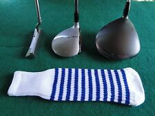 Knitted zebra style Fairway & Driver Golf Club head cover / Optic White / Royal