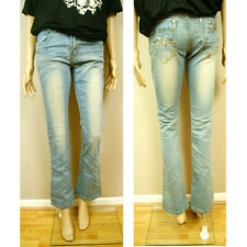 New Hot Fashion Gorgeous Ladies Womens Washed Denim Flared Kick Flare Jeans