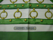 Vintage Hermes Silk Scarf 1970's Aux Champs Equestrian Hand Rolled Collectible