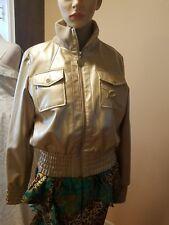 Women Rocawear Bomber Jacket Gold Faux Leather Coat size Medium CUTE!