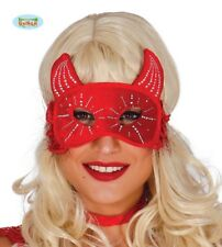 Red Devil Eye Mask with Horns Halloween