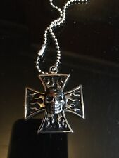 Stainless Steel Iron Cross Skull Flames Pendant Necklace
