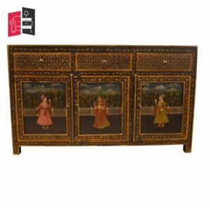 Mughal Hand Painted Wooden Sideboard (MADE TO ORDER)