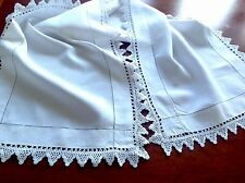 Vintage Hand Crochet White Linen Table Centre Runner Cloth 46x14.5 Inches