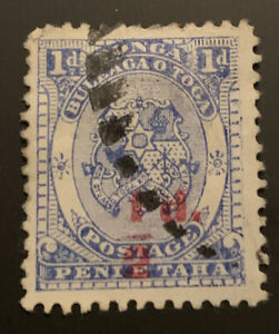 1893 Tonga Coat Of Arms 1/2d On 1d Blue Surcharge FU SG15 CAT$35 Bar Fault