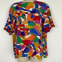 Vintage Christie and Jill Womens Large Colorful Geometric Print Silk Blouse