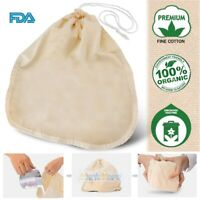 Organic Cotton Nut Milk Bag Reusable Food Strainer Brew Coffee Cheese Cloth FDA
